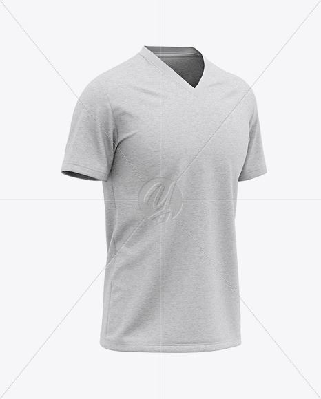 Men's Heather V-Neck T-Shirt Mockup - Front Half Side View