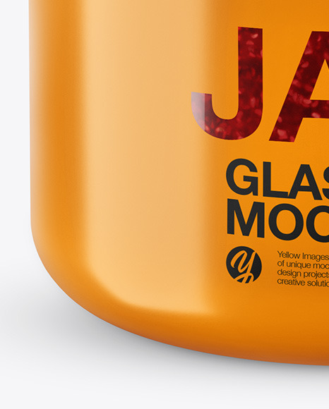 Download Glass Jar H Cashew Cream In Shrink Sleeve Mockup PSD - Free PSD Mockup Templates