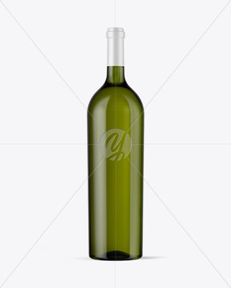 Green Glass White Wine Bottle Mockup