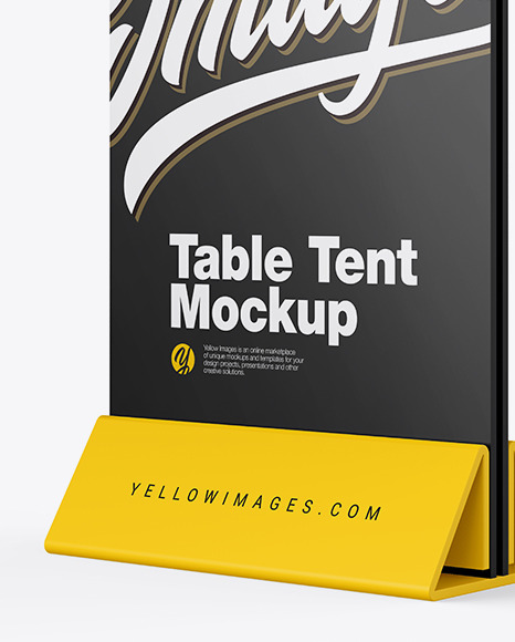 Download Plastic Table Tent Mockup In Indoor Advertising Mockups On Yellow Images Object Mockups PSD Mockup Templates
