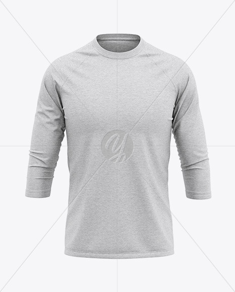 Download Mens Heather Raglan 34 Length Sleeve T Shirt Mockup Front View Yellowimages