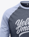 Men's Heather Raglan 3/4 Length Sleeve T-Shirt Mockup - Front View