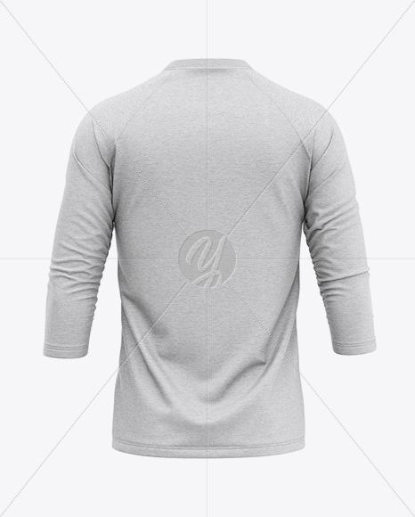 Men's Heather Raglan 3/4 Length Sleeve T-Shirt Mockup - Back View