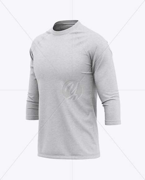 Men S Heather Raglan 3 4 Length Sleeve T Shirt Mockup Front