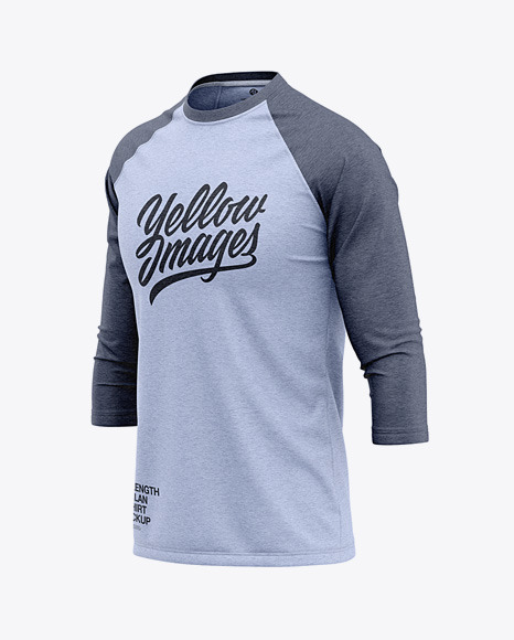 Download Mens Heather Raglan 34 Length Sleeve T Shirt Mockup Front Half Side View Yellowimages