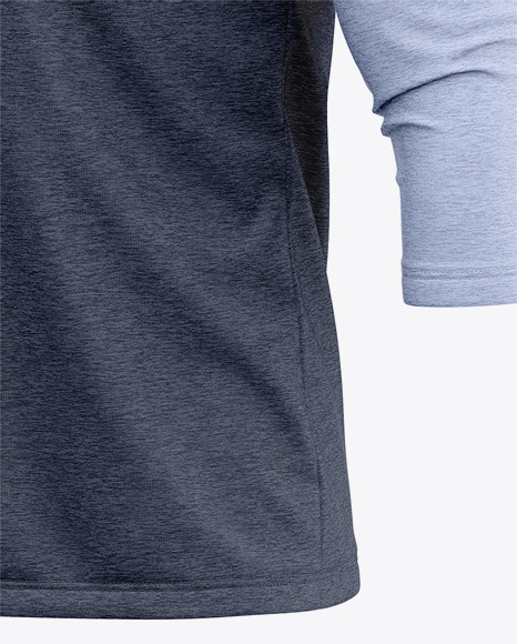 Men's Heather Raglan 3/4 Length Sleeve T-Shirt Mockup - Front Half Side View
