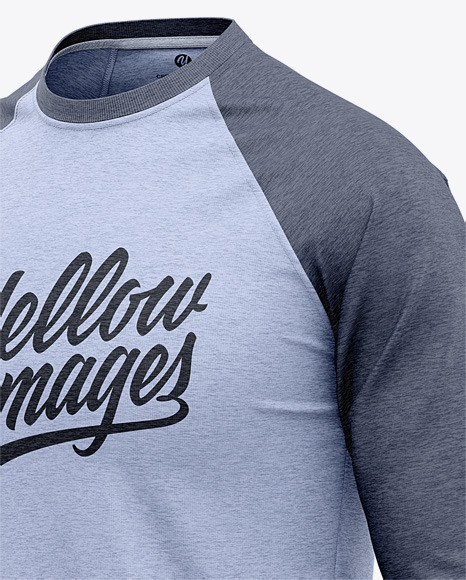 Download Mens Heather Raglan 34 Length Sleeve T Shirt Mockup Back Half Side View Yellowimages