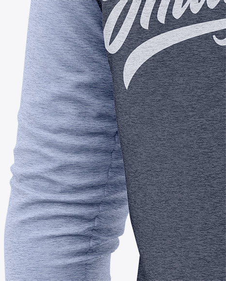 Men's Heather Raglan 3/4 Length Sleeve T-Shirt Mockup - Back Half Side View