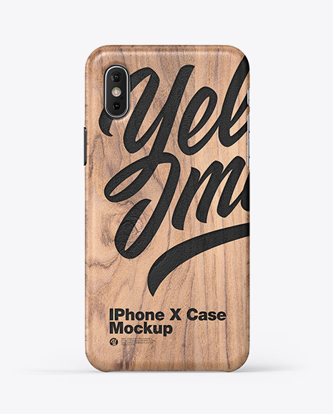 Download iPhone X Wooden Case PSD Mockup