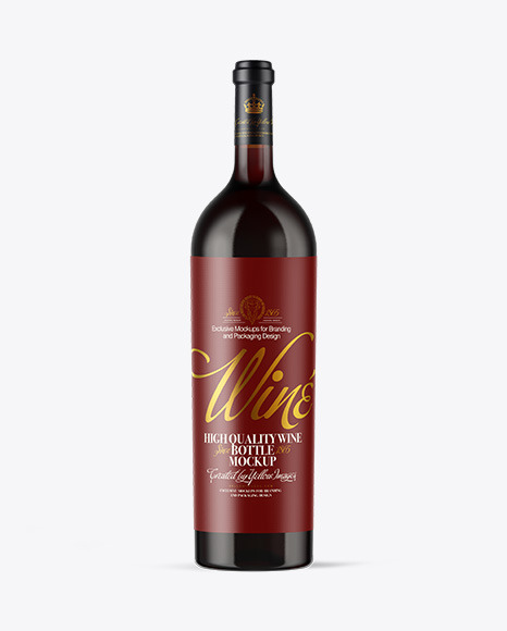 Download Amber Glass Red Wine Bottle PSD Mockup