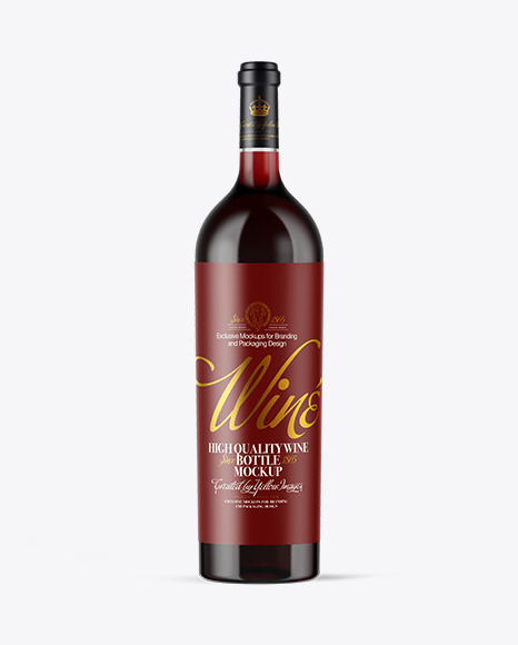 Download Clear Glass Red Wine Bottle PSD Mockup