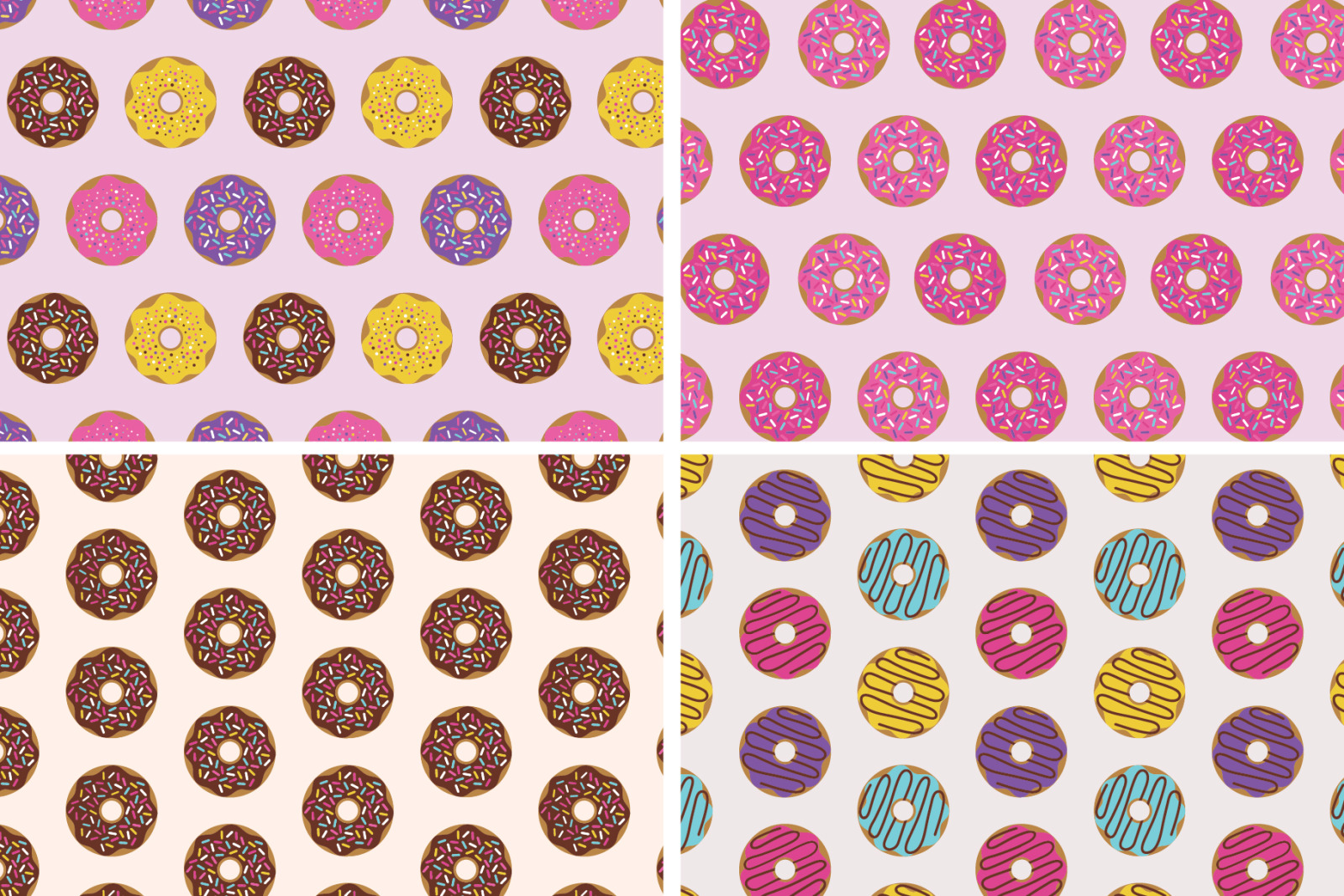 Donuts Seamless Patterns