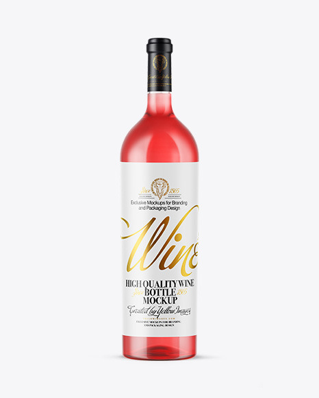 Download Clear Glass Pink Wine Bottle PSD Mockup