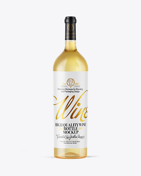 Download Clear Glass White Wine Bottle PSD Mockup