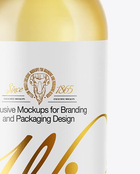 Clear Glass White Wine Bottle Mockup