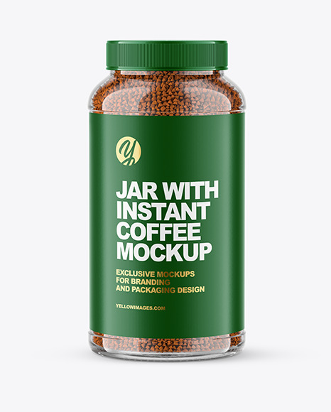 Download Glass Jar with Instant Coffee PSD Mockup