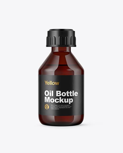 Download Amber Glass Bottle PSD Mockup