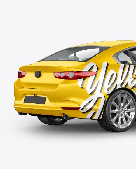 Download Sedan Back Half Side View PSD Mockup