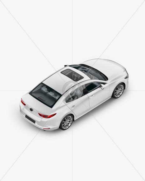 Sedan Mockup - Back Half Side View (High-Angle Shot) - Yellowimages Mockups