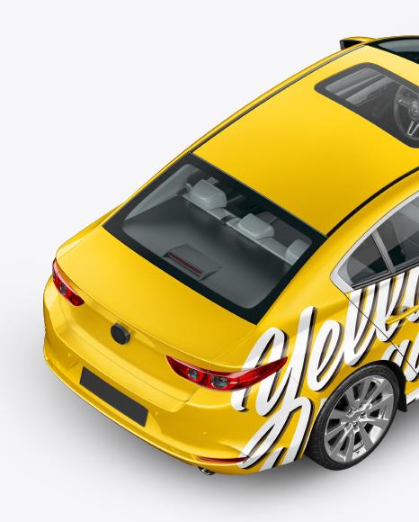 Download Sedan Back Half Side View 2020HighAngle Shot PSD Mockup