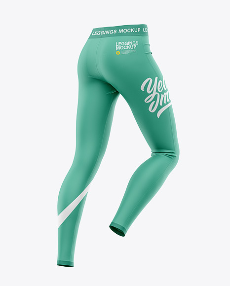 Women's Leggings Mockup - Back Half-Side View