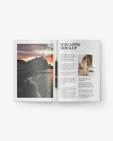 Download Magazine With Pen PSD Mockup