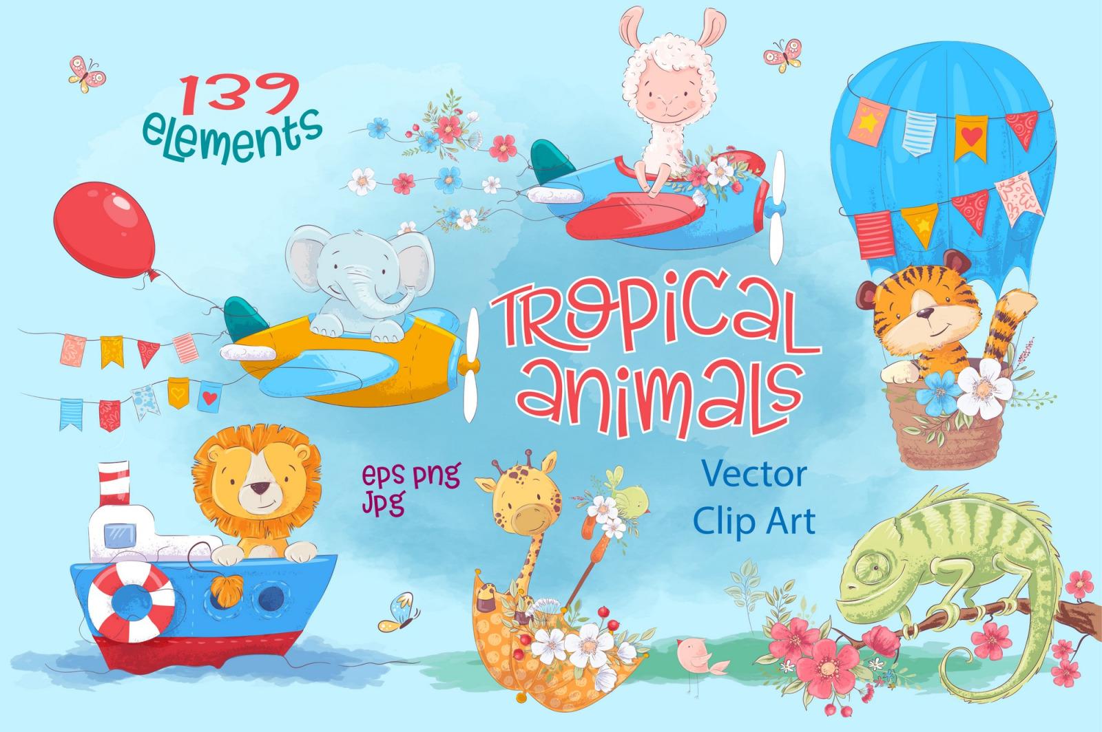 Tropical animals – vector clip art