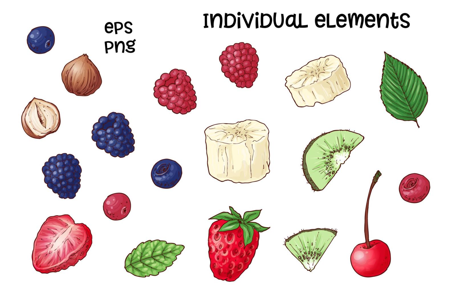 Bright sweets – vector clip art