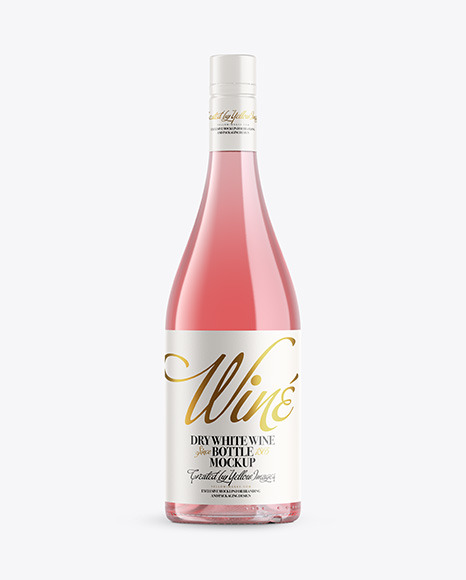 Download Clear Glass Bottle With Pink Wine PSD Mockup
