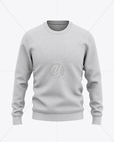 Men's Heather Crew Neck Sweatshirt/Sweater Mockup - Front View