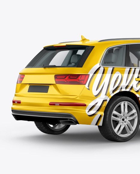 Download Crossover SUV Back Half Side View PSD Mockup