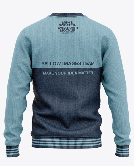 Men's Heather Crew Neck Sweatshirt Mockup - Back View Of Sweater