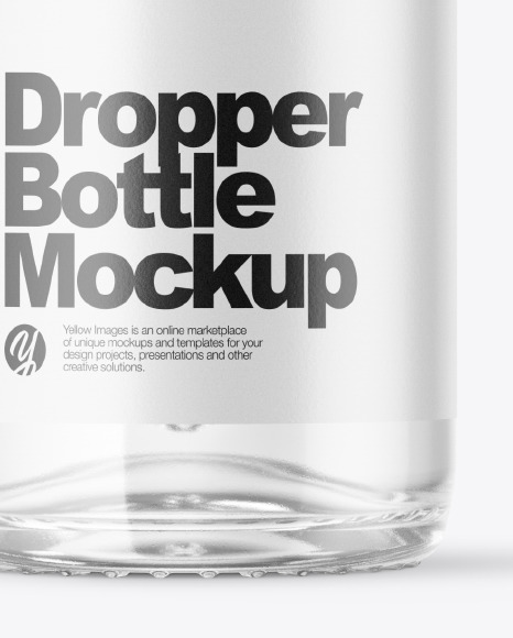Clear Bottle With Glass Dropper Mockup