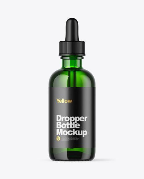 Download Green Glass Dropper Bottle PSD Mockup