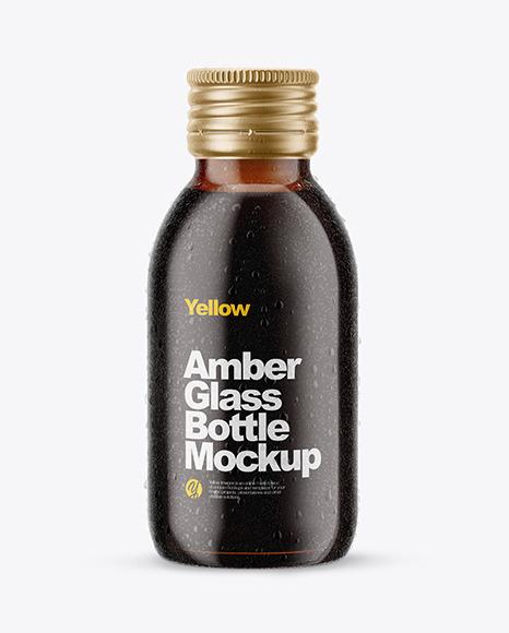 Download 100ml Amber Glass Bottle in Shrink Sleeve PSD Mockup