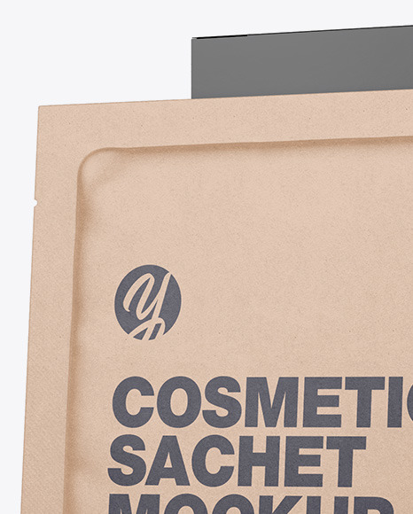 Textured Paper Box with Kraft Sachet Mockup