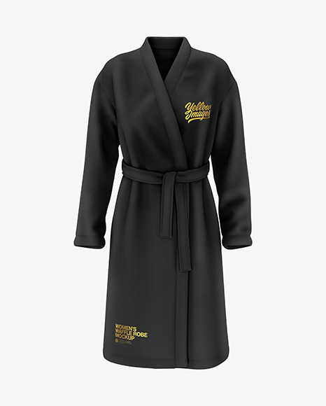 Download Womens Waffle Robe Front View PSD Mockup