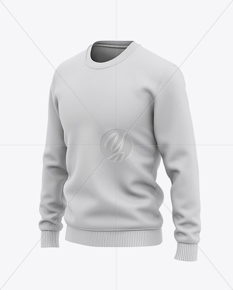 Men's Crew Neck Sweatshirt / Sweater Mockup - Front Half Side View