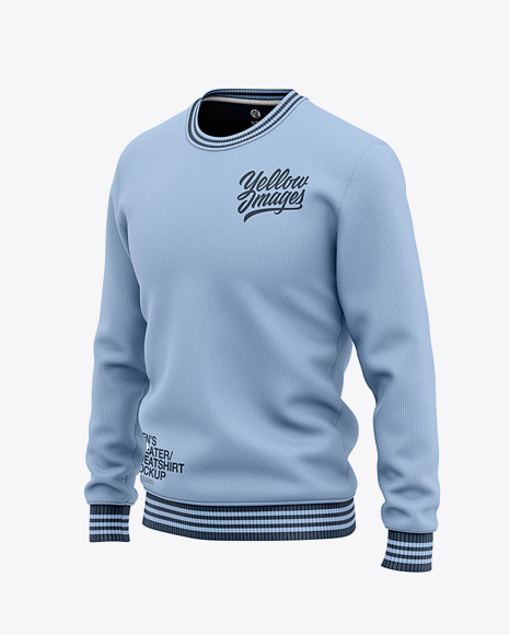 Download Mens Crew Neck SweatshirtSweater Front Half Side View PSD Mockup