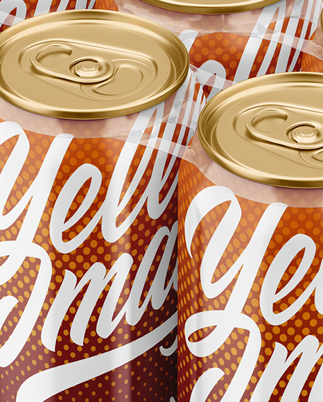 6 Glossy Cans Pack Mockup