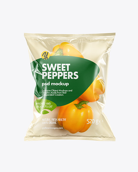 Download Plastic Bag With Yellow Sweet Peppers PSD Mockup