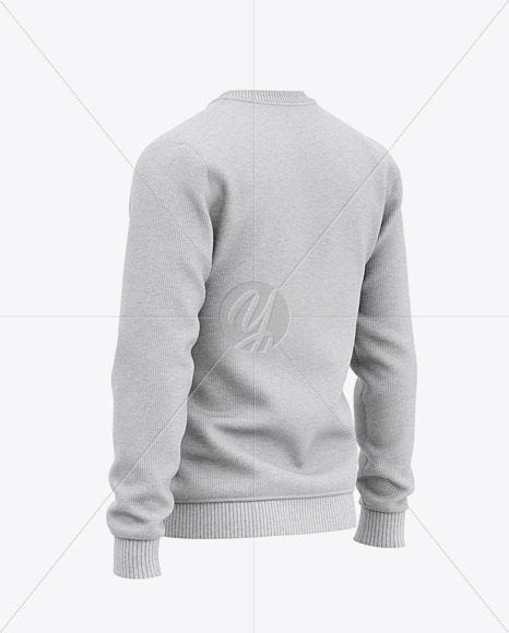 Men's Heather Crew Neck Sweatshirt/Sweater Mockup - Back Half Side View