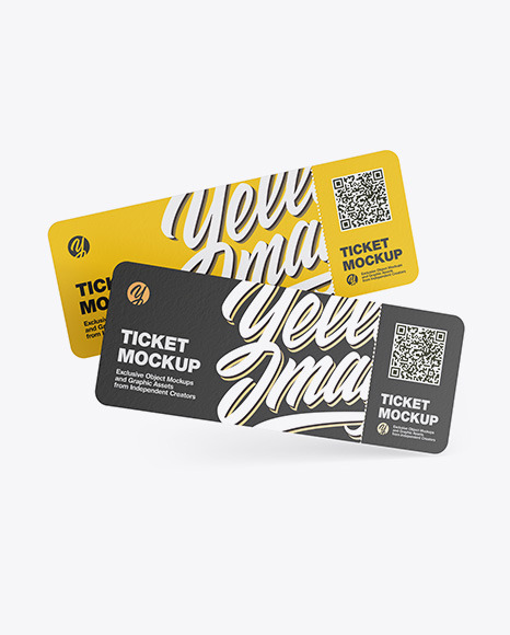 Download Two Paper Tickets PSD Mockup