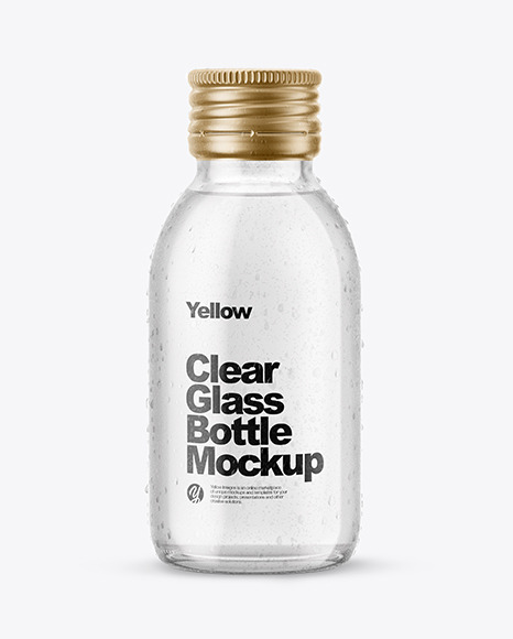 Download 100ml Clear Glass Bottle in Shrink Sleeve PSD Mockup
