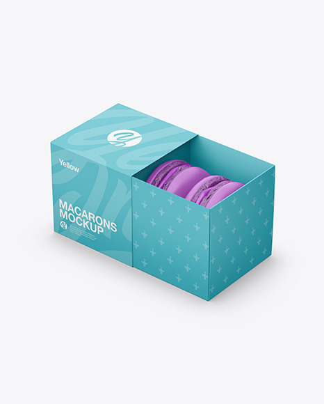 Download Opened Paper Box With Macarons PSD Mockup