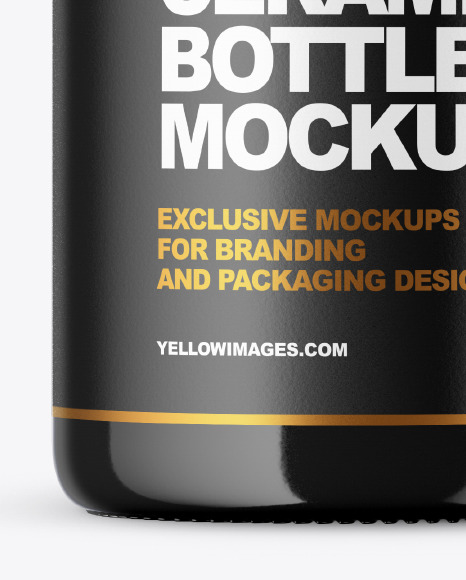 Glossy Ceramic Bottle with Wax Mockup