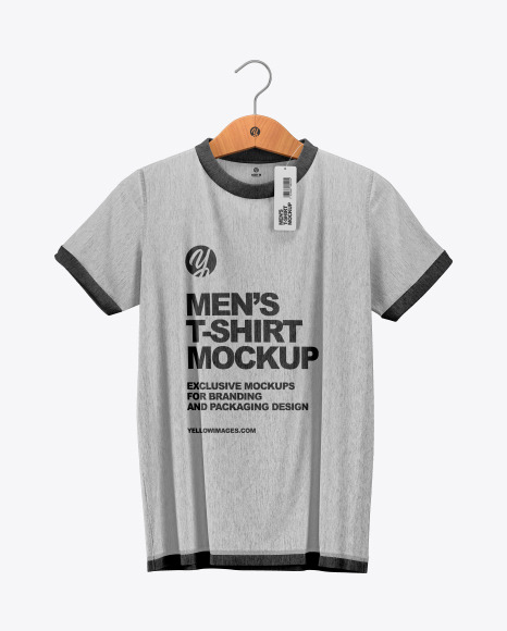 Men S T Shirt Mockup In Apparel Mockups On Yellow Images Object