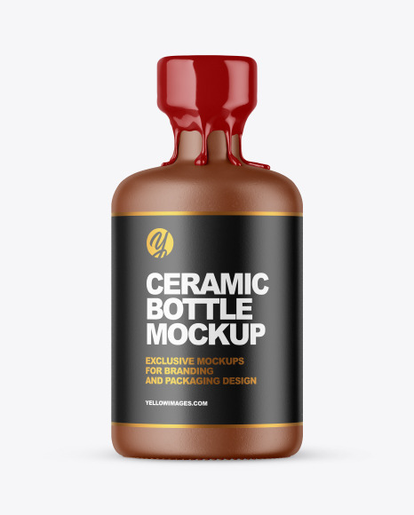 Download Textured Ceramic Bottle with Wax PSD Mockup