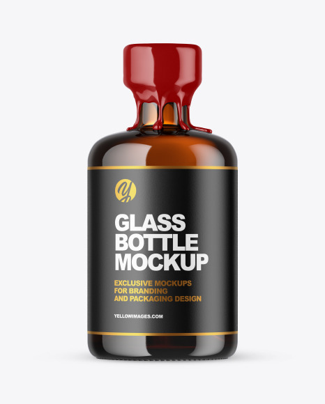 Download Amber Glass Bottle with Wax PSD Mockup