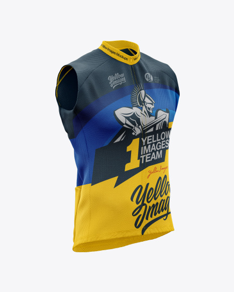Download Mens Cycling Wind Vest Mockup Back Half Side View Yellowimages